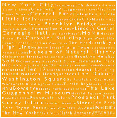 Lincoln Center Photograph - New York In Words Orange by Sabine Jacobs