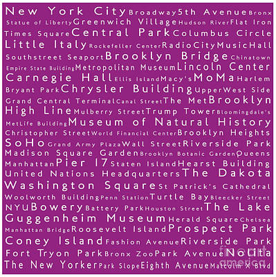 Lincoln Center Photograph - New York In Words Pink by Sabine Jacobs