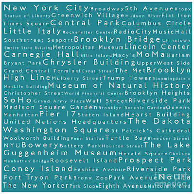 New York In Words Teal Art Print