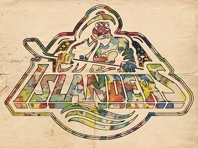 Painting - New York Islanders Retro Poster by Florian Rodarte