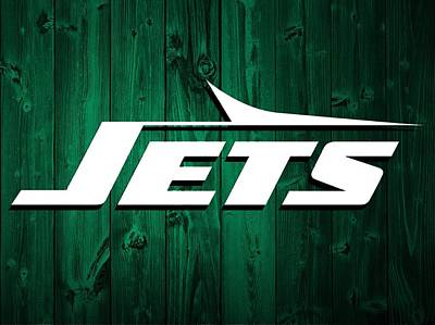 Jets Mixed Media - New York Jets Barn Door by Dan Sproul