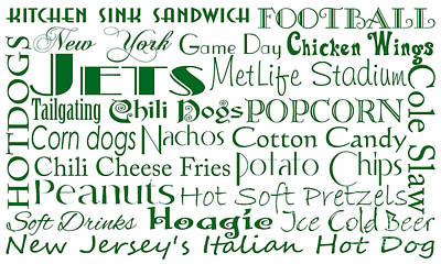 Digital Art - New York Jets Game Day Food 1 by Andee Design