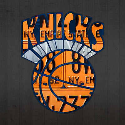 Knicks Mixed Media - New York Knicks Basketball Team Retro Logo Vintage Recycled New York License Plate Art by Design Turnpike