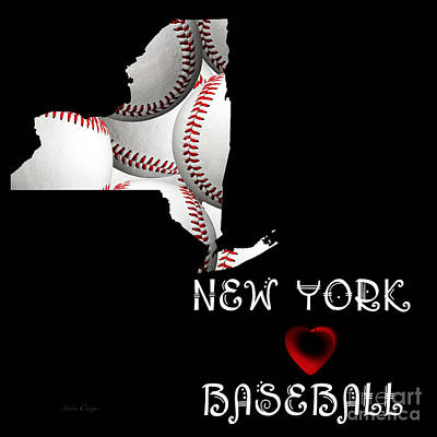 Hearts Digital Art - New York Loves Baseball by Andee Design