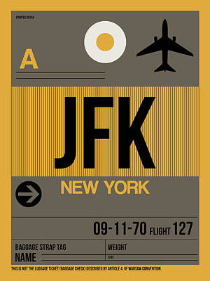 New York Mixed Media - New York Luggage Tag Poster 3 by Naxart Studio