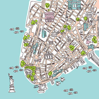 Sketches Map Drawing - New York Manhattan Illustrated Map by Little Smilemakers Studio