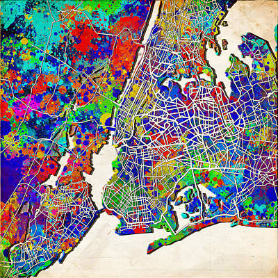 Liberty Painting - New York Map Abstract 2 by Bekim Art