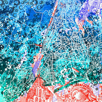 Painting - New York Map Abstract by Bekim Art