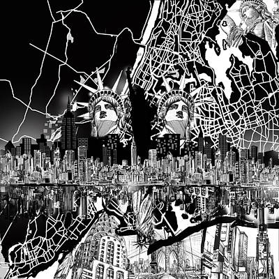 Drawing - New York Map Black And White 2 by Bekim Art