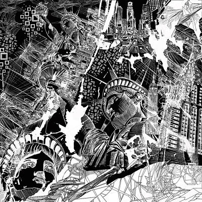 Drawing - New York Map Black And White by Bekim Art