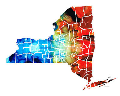 New York - Map By Sharon Cummings Art Print by Sharon Cummings