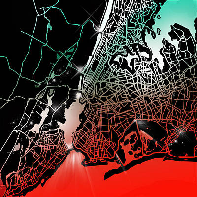 Liberty Painting - New York Map Gradient by Bekim Art