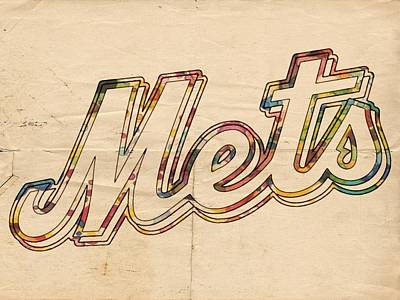 Painting - New York Mets Logo Vintage by Florian Rodarte