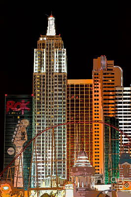 The Strip Photograph - New York-new York Hotel Las Vegas - Pop Art Style by Ian Monk