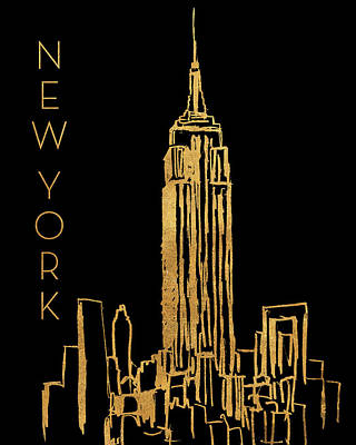 Empire State Building Mixed Media - New York On Black by Nicholas Biscardi