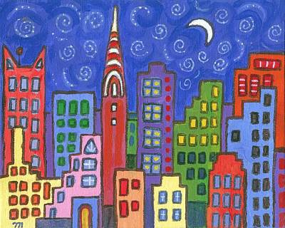 Skyline Painting - New York One by Linda Mears