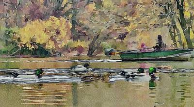 New York Park Boat Ride Art Print
