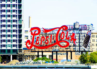 New York Signs Photograph - New York Pepsi Sign by Jon Woodhams