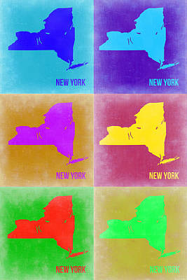 Modern Poster Painting - New York Pop Art  Map 3 by Naxart Studio