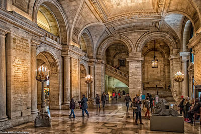 Art Print featuring the photograph New York Public Library In New York City by Linda Karlin