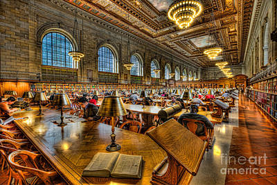 Photograph - New York Public Library Main Reading Room IIi by Clarence Holmes