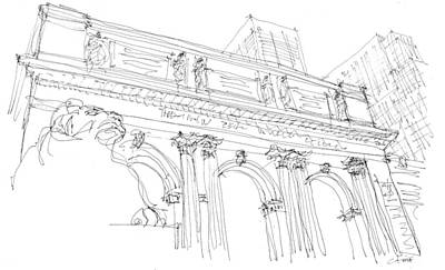 Drawing - New York Public Library Sketch by Calvin Durham