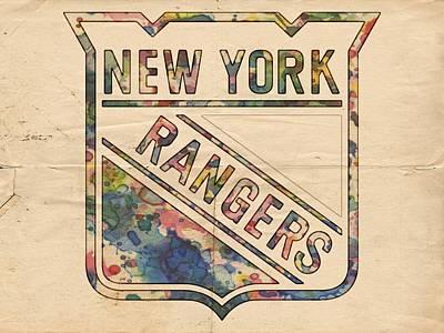 Ice Hockey Painting - New York Rangers Hockey Poster by Florian Rodarte