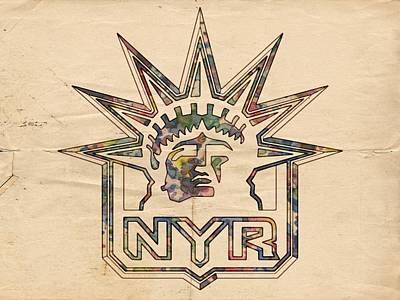 Goaltender Painting - New York Rangers Vintage Poster by Florian Rodarte