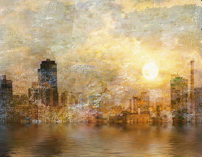 New York River Sunrise Art Print