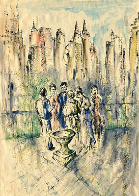 Drawing - New York Roof Party - Watercolor Ink by Art America Gallery Peter Potter