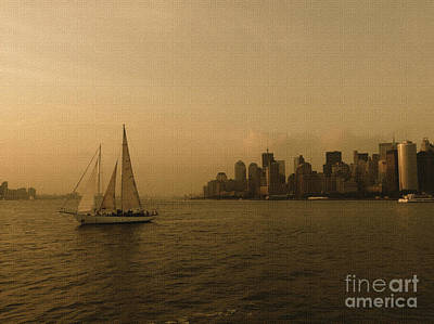 New York Sailing At Sunset Art Print