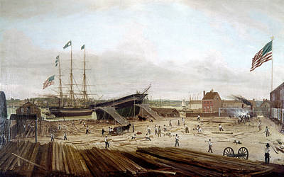 Shipyard Painting - New York Shipyard, 1833 by Granger