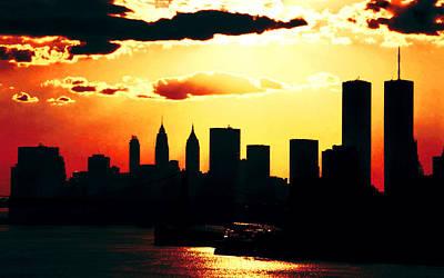 City Photograph - New York Sky Fire by VRL Art