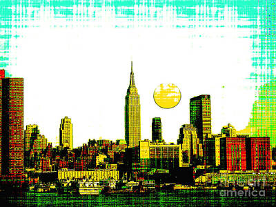 Brooklyn Bridge Mixed Media - New York Skyline  by Celestial Images