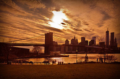 Print featuring the photograph New York Skyline And Brooklyn Bridge -- Late Afternoon by Mitchell R Grosky