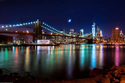 Print featuring the photograph New York Skyline And Brooklyn Bridge With Crescent Moon Rising by Mitchell R Grosky
