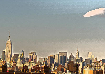 Photograph - New York Skyline - Artistic Version by Kerri Farley