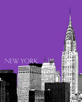 Ink Digital Art - New York Skyline Chrysler Building - Purple by DB Artist