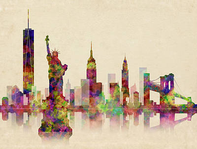 Chrysler Building Digital Art - New York Skyline by Daniel Hagerman