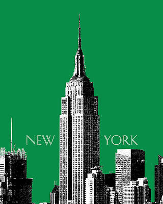 Ink Digital Art - New York Skyline Empire State Building - Forest Green by DB Artist