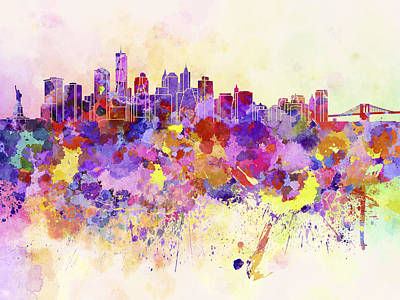 Colorful Art Digital Art - New York Skyline In Watercolor Background by Pablo Romero