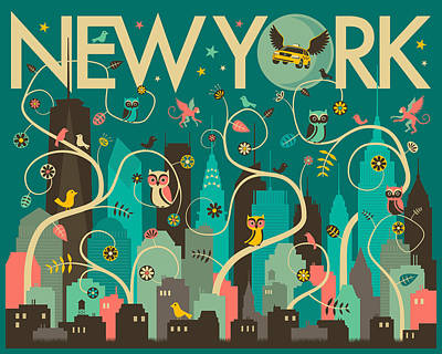 Owls Digital Art - New York Skyline by Jazzberry Blue