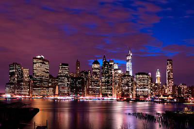 Print featuring the photograph New York Skyline Magic Hour-- From Brooklyn Heights Promenade by Mitchell R Grosky