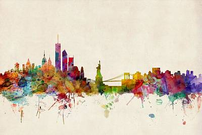 Watercolour Wall Art - Digital Art - New York Skyline by Michael Tompsett