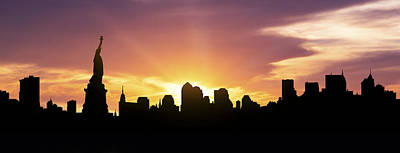 City Scenes Royalty-Free and Rights-Managed Images - New York Skyline Panorama Sunset by Aged Pixel