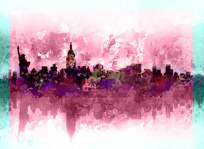 Cities Painting - New York Skyline Purple by Bekim Art