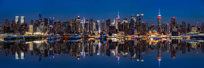 New York Skyline Reflected In Hudson River Original