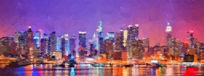 Painting - New York City - Skyline by Samuel Majcen