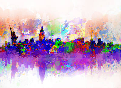 Digital Watercolor Painting - New York Skyline Splats 3 by Bekim Art