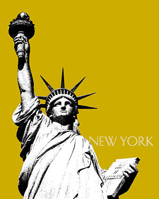 New York Skyline Statue Of Liberty - Gold Art Print
